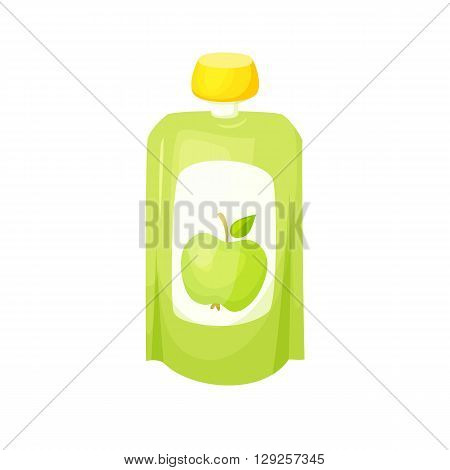 Apple juice package. Fruit apple purees. Healthy fruit purees snack in packaging. Fruit juise in packing. Apple juice in pack. Baby food. Drink fruit purees. Apple jam.