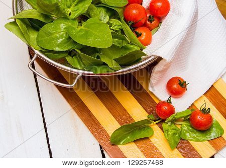 Fresh Spinach And Cherry Tomatoes