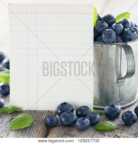 Cup of blueberries with a blank index card for a recipe