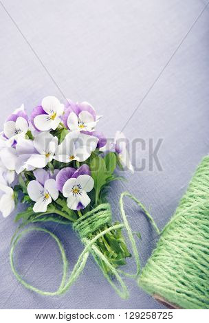 Bouquet of purple violets on lilac linen background