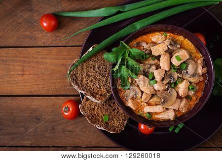 Hungarian Paprikas (goulash) Chicken With Mushrooms. Top View