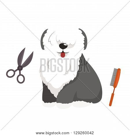 Dog hair hygiene. Vector Illustration Set Pet Grooming and care, haircut