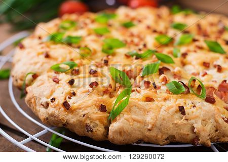 Soda Scones (bread)  With Ham, Cheese And Chives. English Cuisine