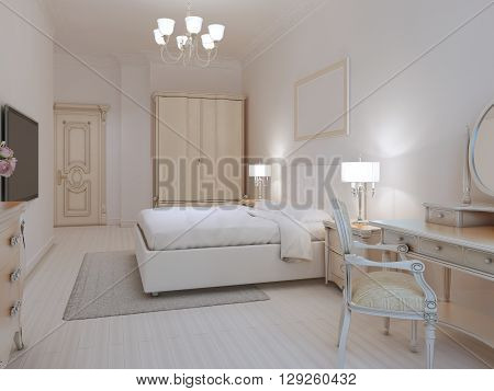 White bedroom art deco style with linoleum flooring and white walls. Cream and beige furniture. 3D render