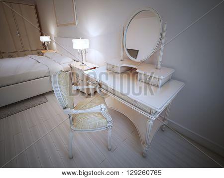 Dressing table in provence bedroom. 3D render
