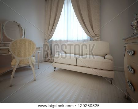 Vintage bedroom interior in art deco style. Light colors in interior. Cream furniture beige curtains and white walls. 3D render