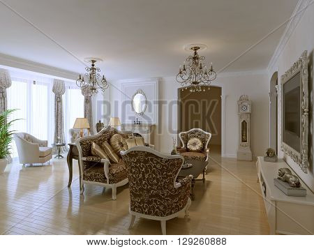 Luxury lobby for five stars hotel in neoclassic style. White walls and light parquet flooring. Lot of antique. 3D render