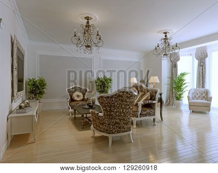 Luxury interior of rich lounge with fashionable classic furniture bright room with molding walls. 3D render