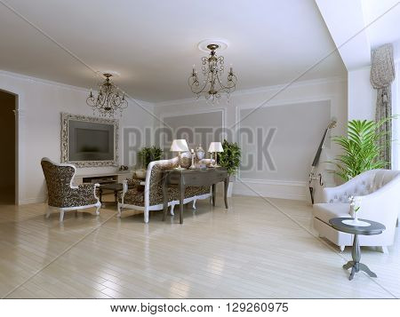 Bright living room in art deco style house. 3D render
