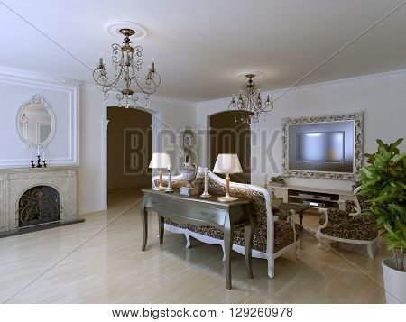 Classic lounge with fireplace and luxury furniture. 3D render