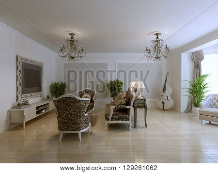 Inspiration for luxury living with antique furniture wall molding and violoncello. 3D render