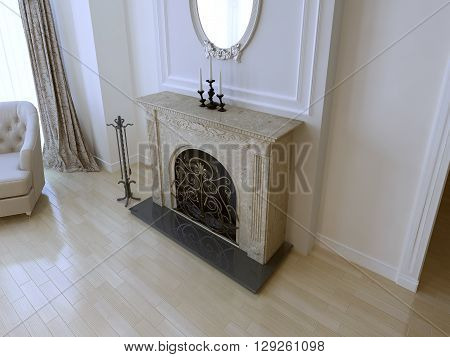 Elegant fireplace in luxury house near white wall with molding. Example of decor place around fireplace. 3D render