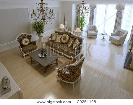 Spacious lounge with fireplace and violoncello. 3D render