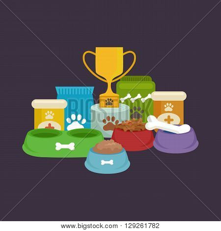 Pet food in bowl, bone meal for dogs eating vector illustration