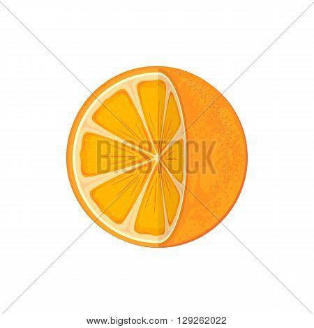 Fresh ripe orange isolated on white background, juicy orange icon, illustration.