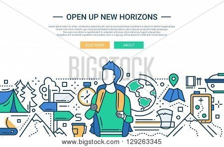 Illustration of vector modern line flat design website banner, header with male traveling with a backpack