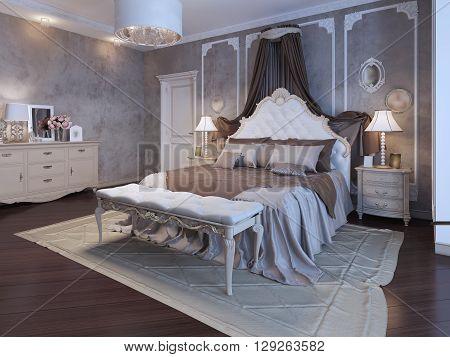 Master bedroom bohemian style in brown colors. 3D render