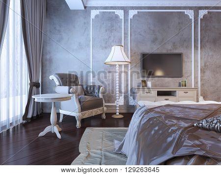 Hotel bedroom interior in art deco style. 3D render