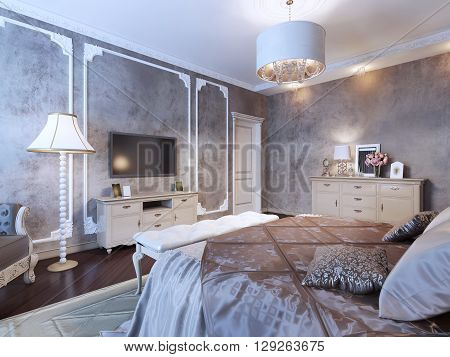 Bedroom with dark wallpaper in classic style with luxury furniture. 3D render