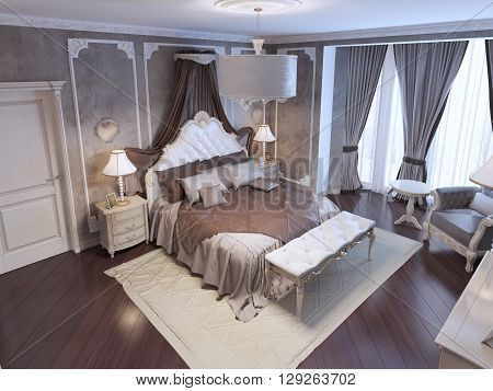 Top view on exclusive designed bed with white ornament headboard and curtains soft bench on white color carpet. 3D render