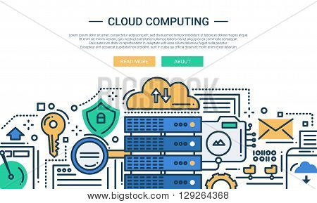 Illustration of vector modern line flat design website banner, header with, server and cloud computing technology symbols