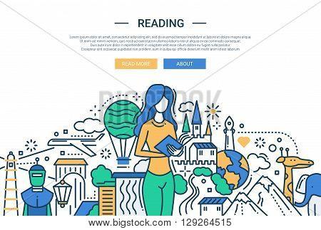 Illustration of vector modern line flat design website banner, header with female