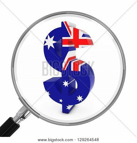 Australia Finance Concept - Australian Dollar Symbol Under Magnifying Glass - 3D Illustration