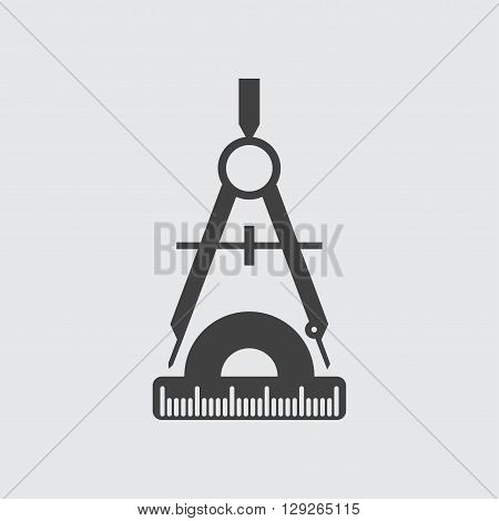 Compass and protractor icon illustration isolated vector sign symbol