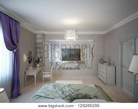 Bedroom neoclassic style. Large patterned mirror and wall mounted TV dressing table. 3D render