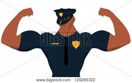 Cartoon policeman for sport nutrition advertising. Cartoon policeman. Bodybuilder. Cartoon officer.