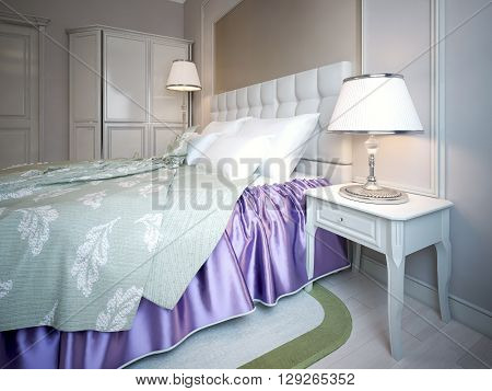 Using of purple color in bedroom beauty combination of bright purple and light olive blanket. Bed with headboard near beige wall with molding. 3D render