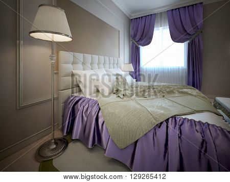 Beautiful bed in luxury bedroom. Neoclassic trend. Wall with frame molding. Using of bright colors in interior. 3D render
