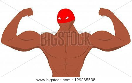 Cartoon protoman for sport nutrition advertising. Sport nutrition advertising.