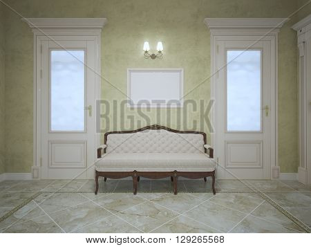 Elegant bench between two doors in expensive house corridor. Bright interior of hallway with olive walls and light marble flooring. Two doors and sconce. 3D render