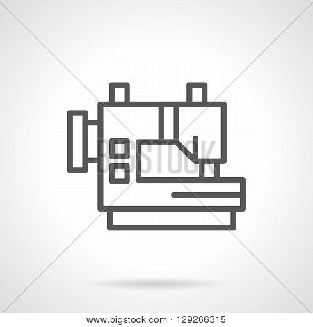 Automatic sewing equipment. Sewing machine for mass production. Industrial clothes sewing in a factory. Simple black line vector icon. Single element for web design, mobile app.