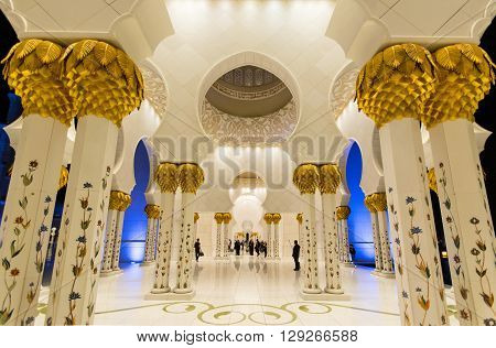 ABU DHABI UAE - FEBRUARY 01: Sheikh Zayed Grand Mosque Abu Dhabi UAE on February 01 2016 in Abu Dhabi. The 3rd largest mosque in the world
