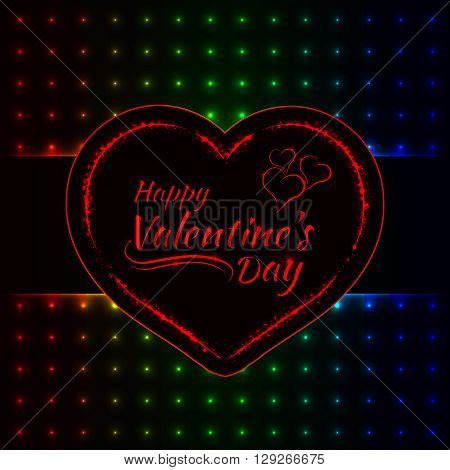 Happy Valentines day gradient lights card, heart and text lights design on dark background