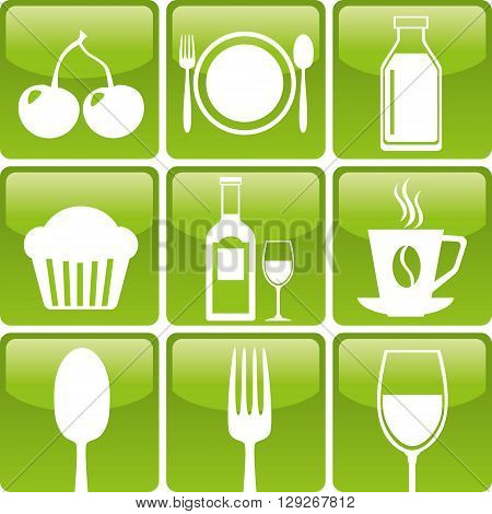 Set of food icons: spoon fork glass bakery coffee dairy cherry and wine