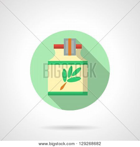 Bottle with herbal extract with label with green branch. Medicine, alternative therapy and cosmetology. Round flat color style vector icon. Web design element for site, mobile and business.