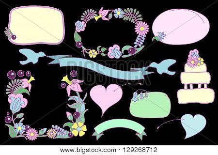 Flower frames and text bubbles vector clip art, flower frames isolated on black, romantic hearts and ribbon with doves, hand-drawn vector clipart for love letter and wedding invitation, love clip art