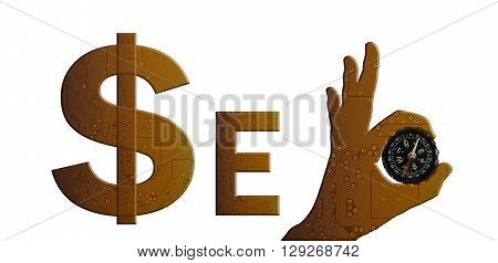 Golden Colour In Technolgy Style Alphabet Text Seo With Hand Pattern And Compass, Symbol, Sign