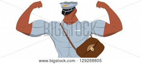 Cartoon postman for sport nutrition advertising. Cartoon postman. Postman uniform. Sport nutrition advertising.