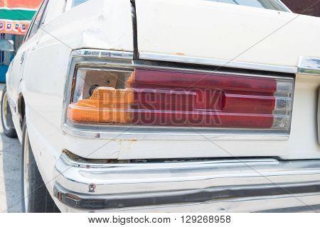 Back Light Of Vintage Car.