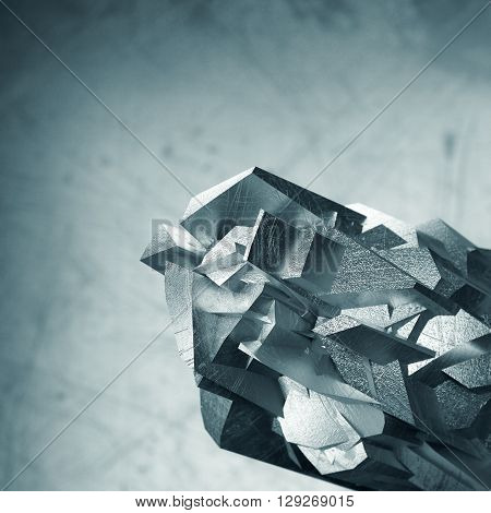 Abstract metal background with grunge metal parts in front and blurry back. 3d rendering
