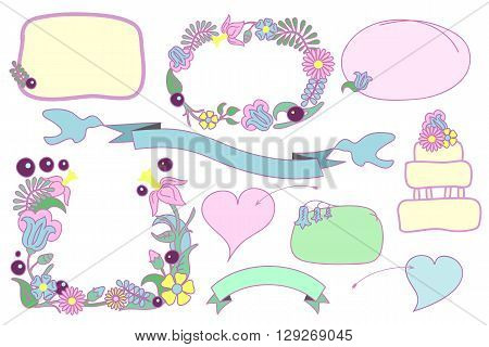 Floral wedding clipart, hand-drawn flower frames, romantic hearts and ribbon with doves, hand-drawn vector clipart