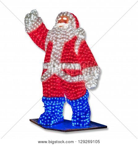 Glowing Santa Claus welcomes lifted hand coming new year. Glowing light bulb emphasize the joy of the holiday and future