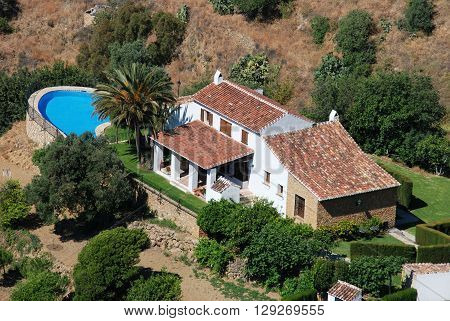 MIJAS, SPAIN - JUNE 14, 2008 - Elevated view of a private villa with a swimming pool Mijas Malaga Province Andalucia Spain Western Europe, June 14, 2008.