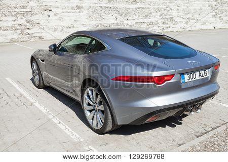 Gray Metallic Jaguar F-type Coupe, Rear View