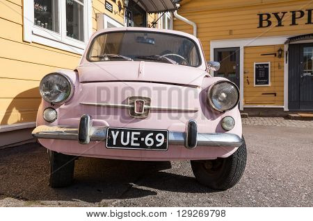 Old Pink Fiat 600, Italian City Car, Front View