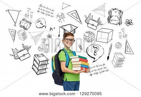 childhood, school, education, learning and people concept - happy smiling student boy in eyeglasses with school bag and books with doodles